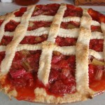 Strawberry-rhubarb pie, made with fruit from our back yard. And yes--that crust is homemade.