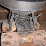 Neil's antique grain mill, taken apart for cleaning and oiling